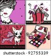 vector set of colored cards with a fashion  girl, little dog, make up and a red bag from sale - stock vector