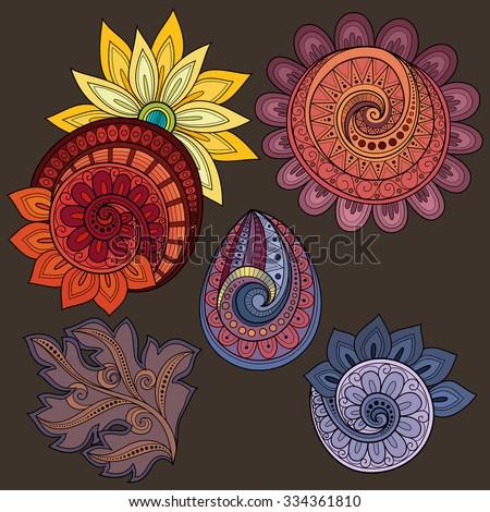 Vector Set of Colored Contour Floral Doodles, Floral Design Elements - stock vector