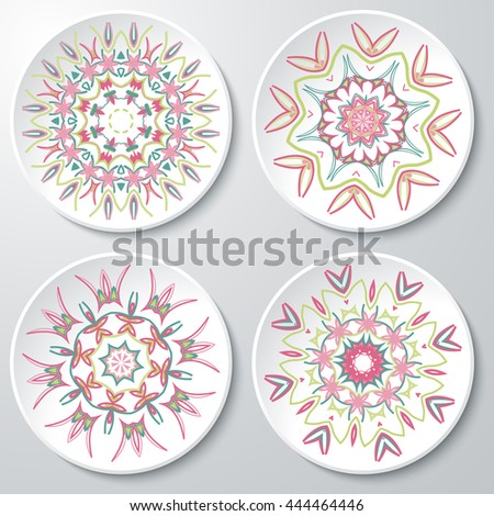 Vector set of colored floral patterns on the paper plates. Set of four floral vector  sc 1 st  Shutterstock & Vector Set Colored Floral Patterns On Stock Vector 444464446 ...