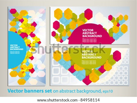 Vector set of colored flyer. 3d abstract squares on the patterned background