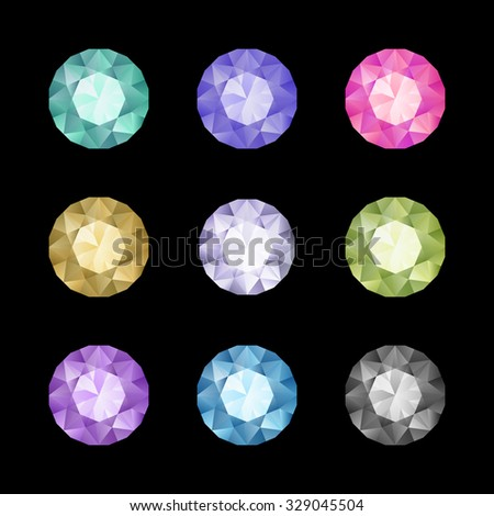 Vector set of colored gem stones, round diamonds on black - stock vector