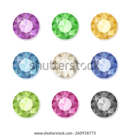 Vector set of colored gem stones, round diamonds on white, eps10