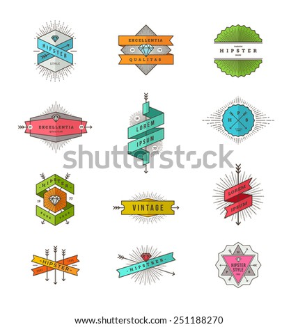 Vector set of colored hipster line signs and emblems - stock vector