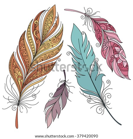 Vector Set of Colored Ornate Decorative Feathers. Tribal Collection of Design Elements - stock vector