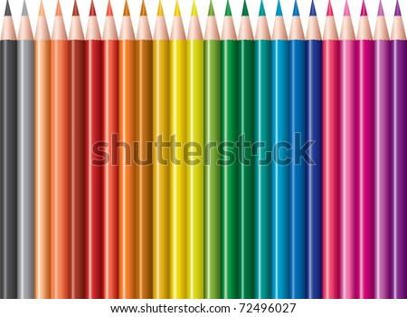 vector set of colored pencils - stock vector