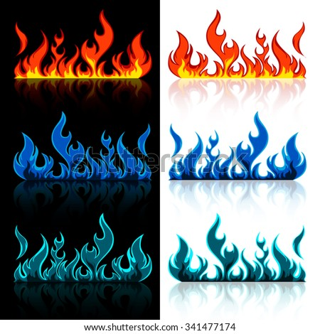 vector set of colored red, blue and green flame fire isolated with reflection on black and white background illustration - stock vector