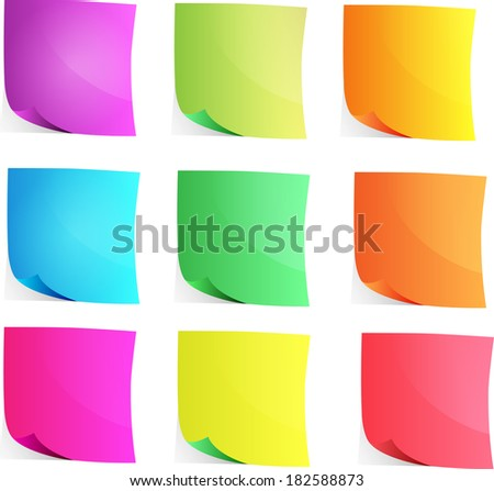 vector set of colored sheets for notes