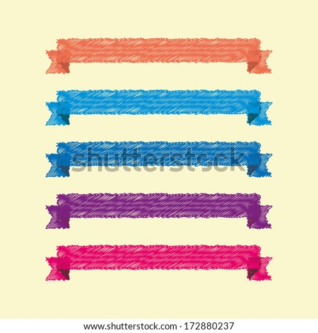 vector set of colored sketch hand drawn ribbons for infographics