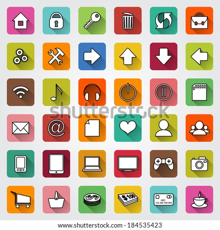 Vector set of colored square flat icons with shadows for e-commerce web site