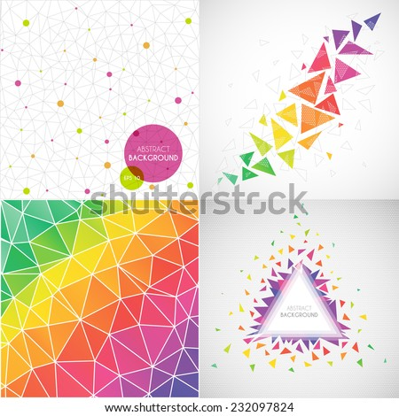 vector set of colorful abstract colored backgrounds - stock vector