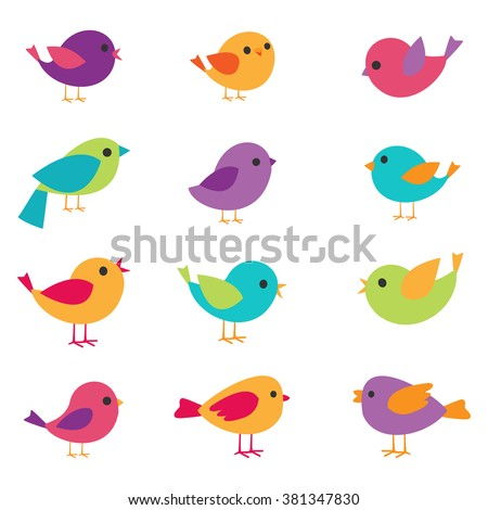 Vector set of colorful and bright birds - stock vector