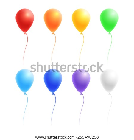 Vector set of colorful birthday or party balloons: red, orange, yellow, green, blue, violet and white, isolated on white background - stock vector