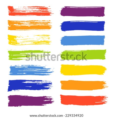 Vector set of colorful brush strokes. Colorful vector brush strokes collection. Colorful paint spots vector set