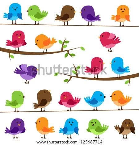Vector Set of Colorful Cartoon Birds - stock vector
