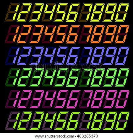 Vector Set of Colorful Digital Numbers Isolated on Dark Background.