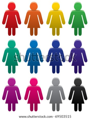 vector set of colorful female symbols - stock vector