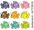 VECTOR - Set of Colorful Fish - Cartoon Cute Design - stock vector