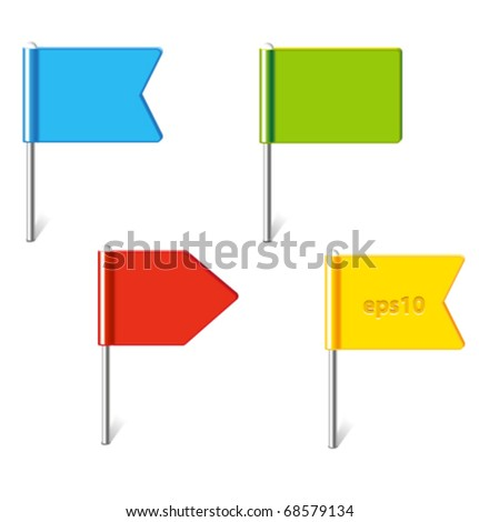 Vector set of colorful flag pins - stock vector