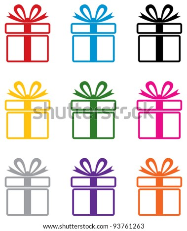 vector set of colorful gift box symbols - stock vector