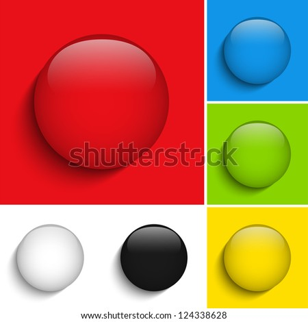 Vector - Set of Colorful Glass Circle Shiny Buttons - stock vector