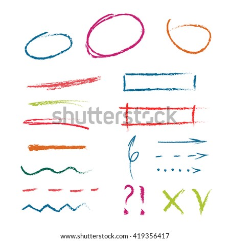vector set of colorful hand drawn oil pastel textured elements (circles, arrows, lines, frames). hand drawn highlighter elements