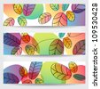 Vector set of colorful, hand drawn style autumn leaves banners illustration - stock vector