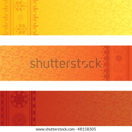 Vector set of 3 colorful indian sari banners - stock vector