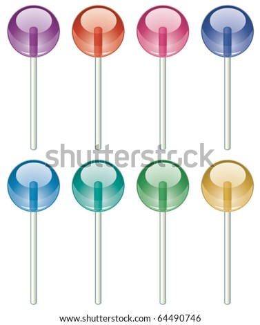 vector set of colorful lollipops - stock vector