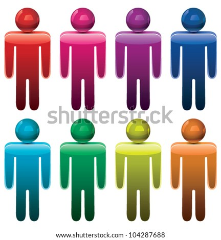 vector set of colorful male symbols - stock vector