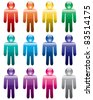 vector set of colorful man symbols - stock vector