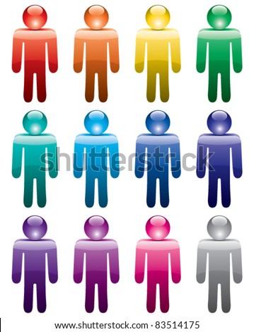 vector set of colorful man symbols - stock vector