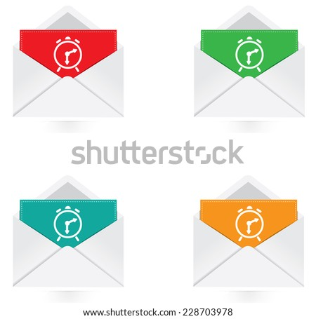 Vector - Set of colorful note with alarm clock icon  - stock vector