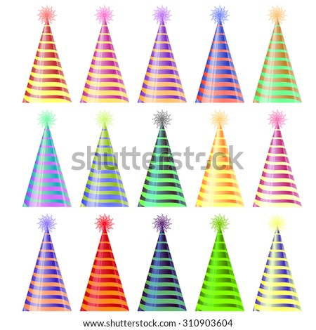 Vector Set of Colorful Party Hats Isolated on White Background - stock vector