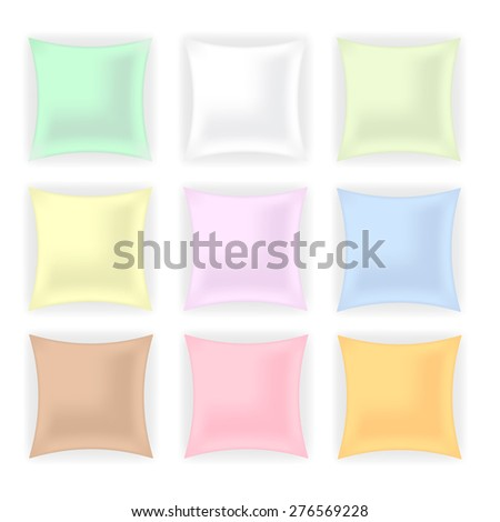 Vector Set of Colorful Pillows isolated on White Background. - stock vector