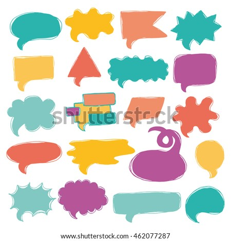 Vector set of colorful quote balloons, speech bubbles made in sketch style.