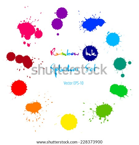 Vector set of colorful rainbow ink splashes isolated on white background. - stock vector