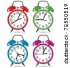 vector set of colorful retro alarm clocks - stock vector