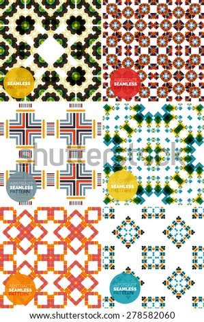 Vector set of colorful seamless geometric patterns. Modern stylish abstract textures. Backgrounds and wallpapers - stock vector