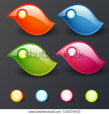 Vector set of colorful shiny elements - stock vector