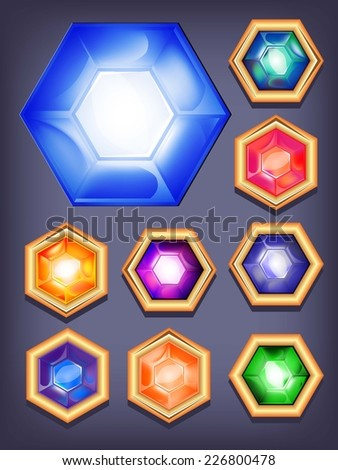 Vector set of colorful shiny jewels. icons colored diamonds - stock vector