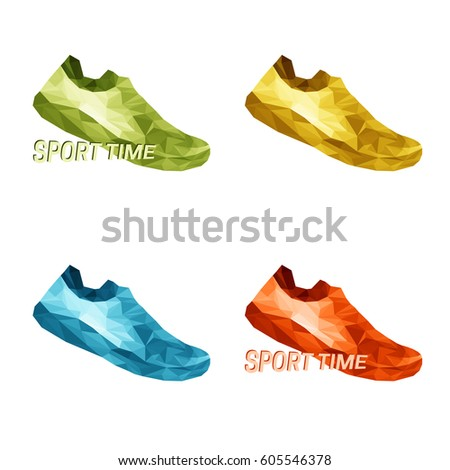 Vector set of colorful sneakers shoes, running, teenage school boys and girls popular street wear low poly triangles design isolated on transparent background