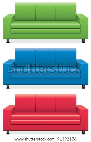 vector set of colorful sofas - stock vector