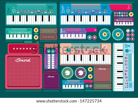 Vector set of colorful Synthesizer Keys Knobs Buttons and keyboard - stock vector