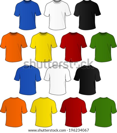 Vector set of colorful t-shirts on white background