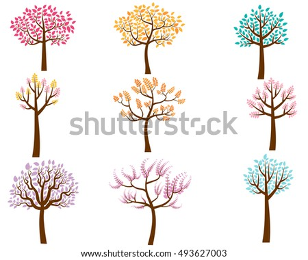 Vector Set of Colorful Trees in Flat Style