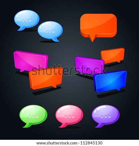 vector set of colorful web bubble chat icon. question-answer illustration