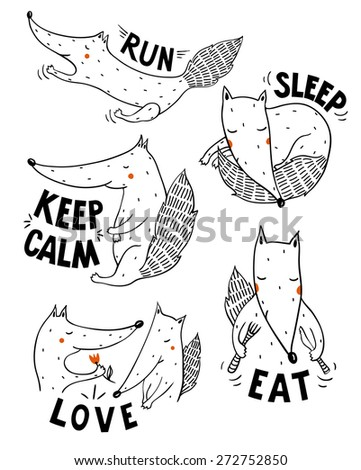 vector set of comic funny foxes - stock vector