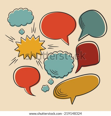 Vector set of comic speech bubbles - stock vector