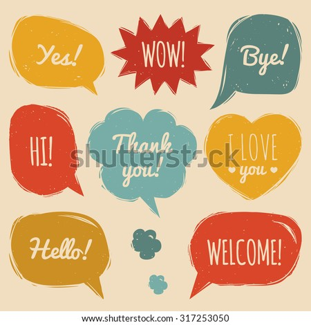 Vector set of comic speech bubbles in trendy flat style. Hand drawn set of speech bubbles with phrases Hi, Hello, Thank you, Yes, Wow, Bye, Welcome, I love you. - stock vector