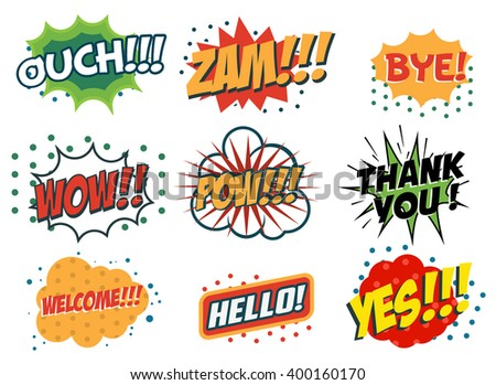 Vector set of comic speech bubbles in trendy pop art style. Hand drawn set of speech bubbles with phrases Yes, Hello, Thank you, Welcome, Wow, Bye, Zam, Ouch. Design elements in vector. - stock vector